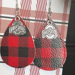 NWT Red faux leather Ohio state earrings